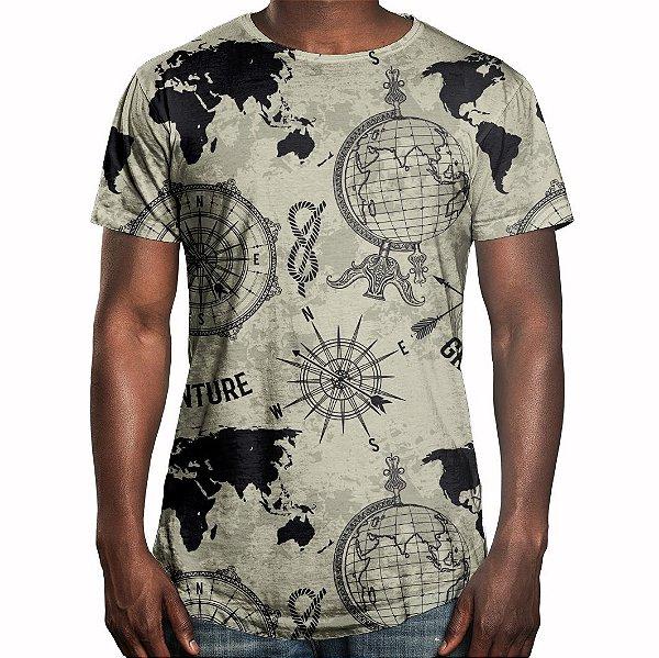 Camiseta Masculina Longline Swag Expansão Marítma Estampa Digital