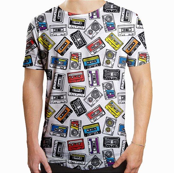 Camiseta Masculina Longline Swag Fitas Cassete K7 Estampa Digital