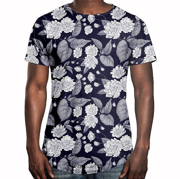 Camiseta Masculina Longline Swag Flor da Ameixa Estampa Digital