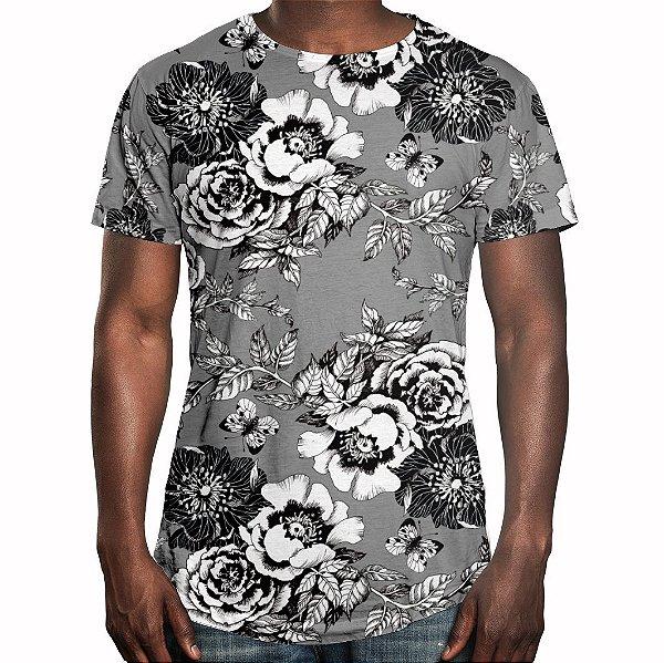 Camiseta Masculina Longline Swag Flor da Ameixeira Estampa Digital