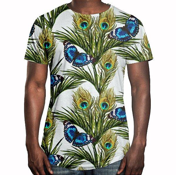 Camiseta Masculina Longline Swag Floral Borboletas Estampa Digital