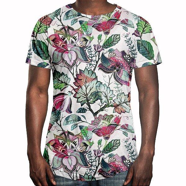 Camiseta Masculina Longline Swag Floral Jardim Russo Estampa Digital ... f0382cafde967