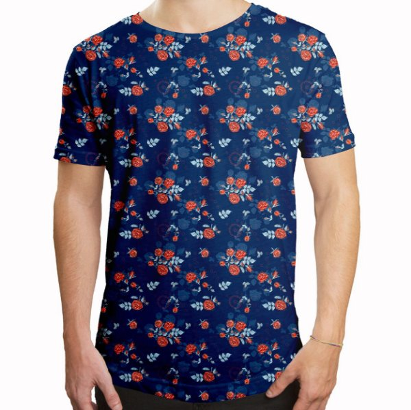 Camiseta Masculina Longline Swag Floral Rosas no Dark Blue Estampa Digital