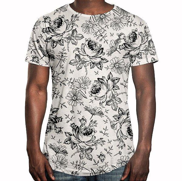 Camiseta Masculina Longline Swag Flores Selvagens Estampa Digital