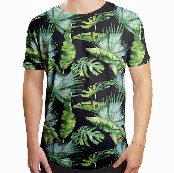 Camiseta Masculina Longline Swag Folhas Tropicais Estampa Digital