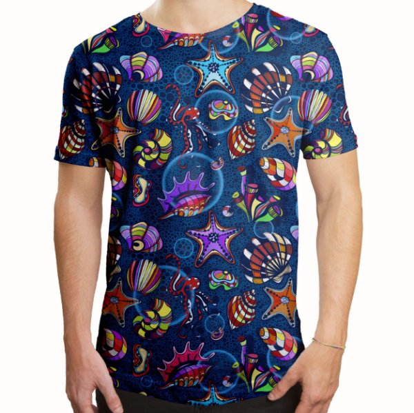 Camiseta Masculina Longline Swag Fundo do Mar Estampa Digital