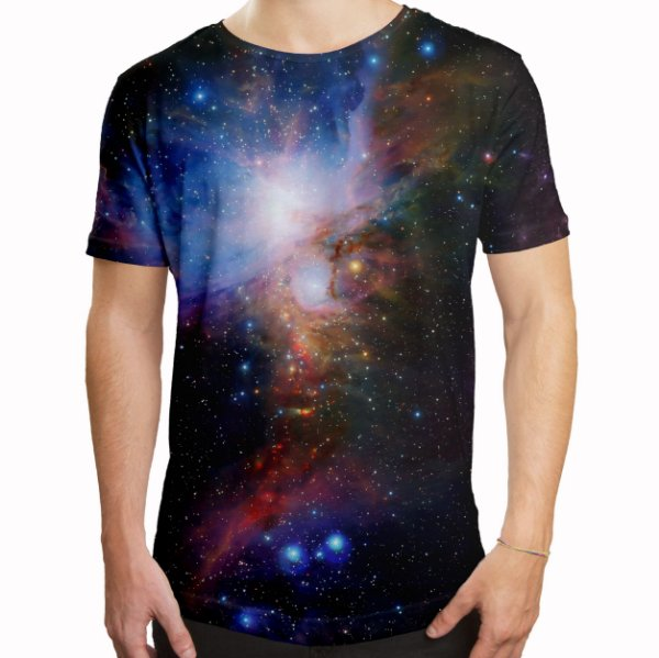 Camiseta Masculina Longline Swag Galáxia Estampa Digital