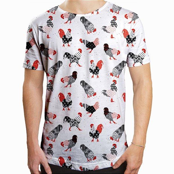 Camiseta Masculina Longline Swag Galos Estampa Digital