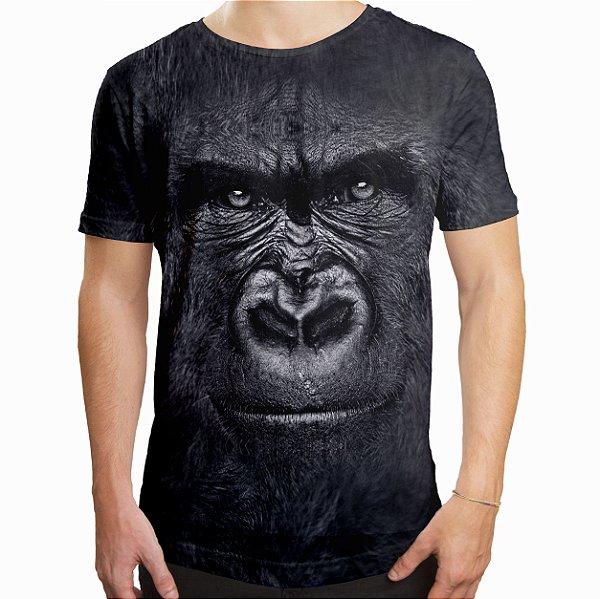 Camiseta Masculina Longline Swag Gorila Estampa Digital