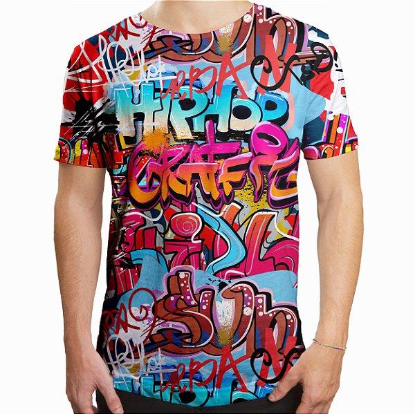 Camiseta Masculina Longline Swag Grafite Hip Hop Grafiti Estampa Digital