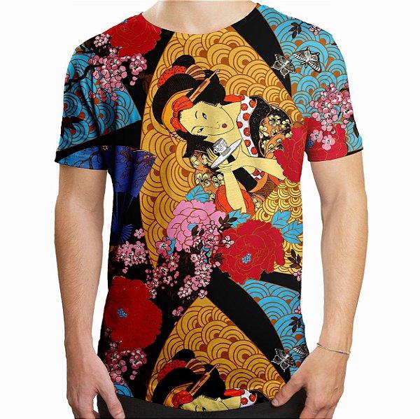 Camiseta Masculina Longline Swag Gueixa Estampa Digital