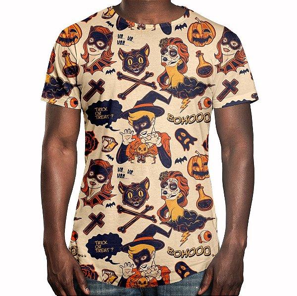 Camiseta Masculina Longline Swag Halloween Estampa Digital