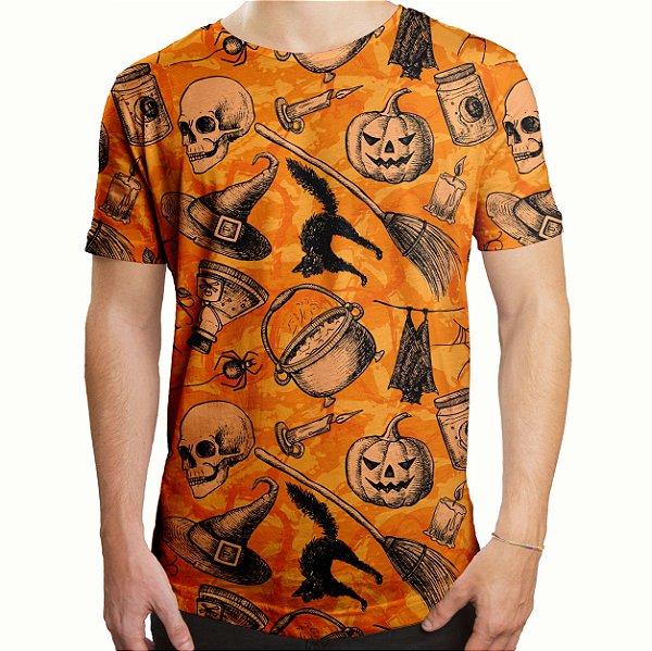 Camiseta Masculina Longline Swag Halloween Abóbora Estampa Digital