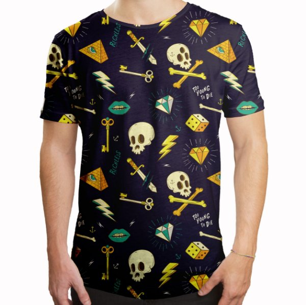 Camiseta Masculina Longline Swag Hipster Tattoo Estampa Digital