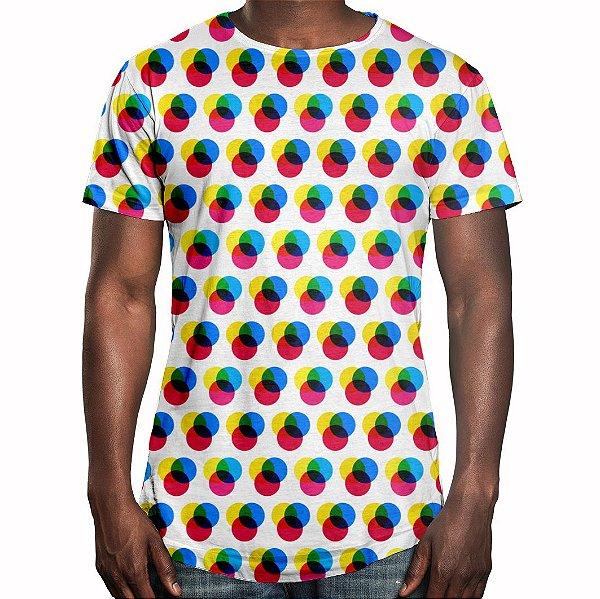 Camiseta Masculina Longline Swag Imagem RGB Estampa Digital