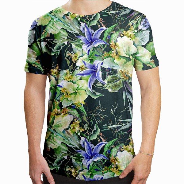 Camiseta Masculina Longline Swag Jardim de Campânula Estampa Digital