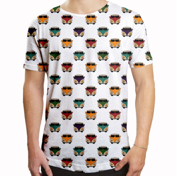 Camiseta Masculina Longline Swag Kombis Estampa Digital