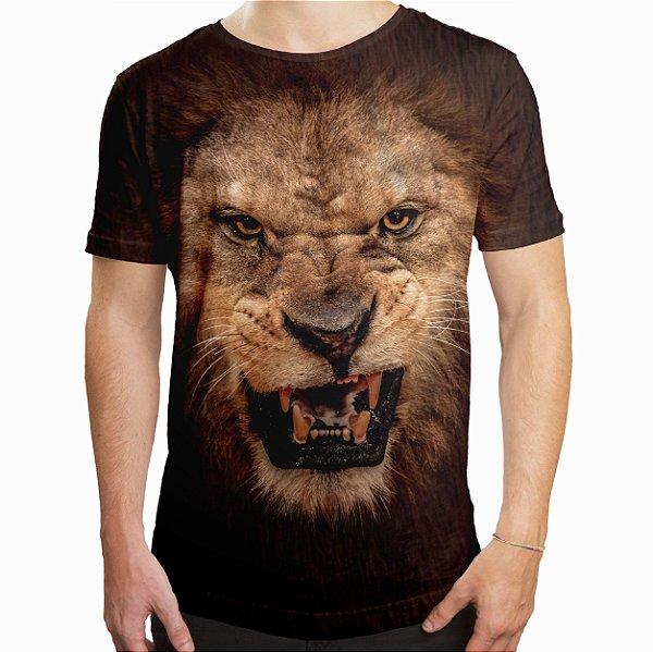 Camiseta Masculina Longline Swag Leão Estampa Digital