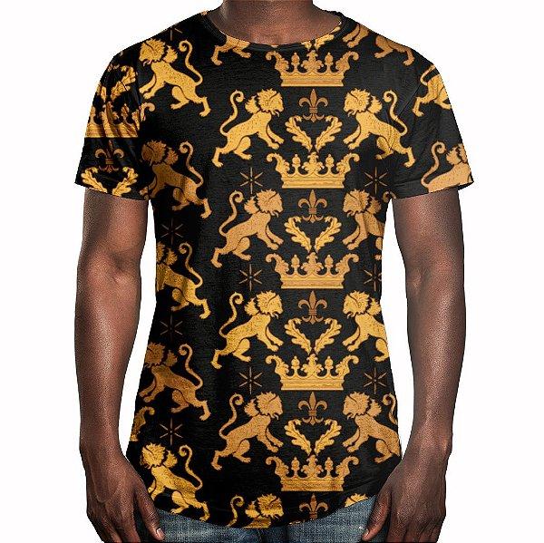 Camiseta Masculina Longline Swag Leão Real Estampa Digital