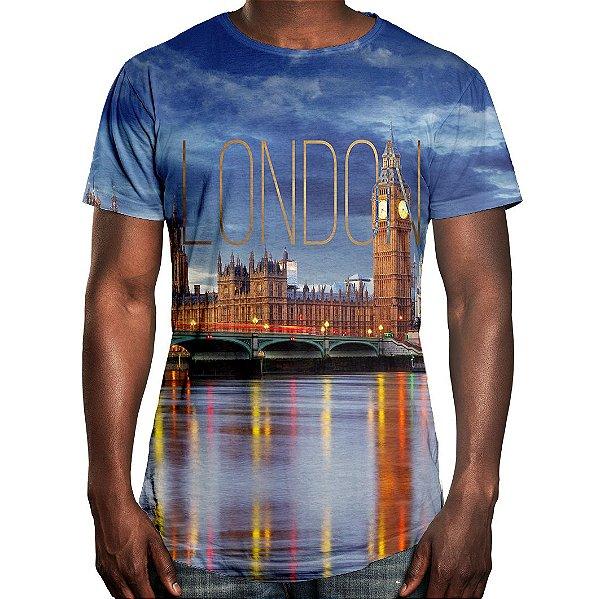 Camiseta Masculina Longline Swag Londres Estampa Digital