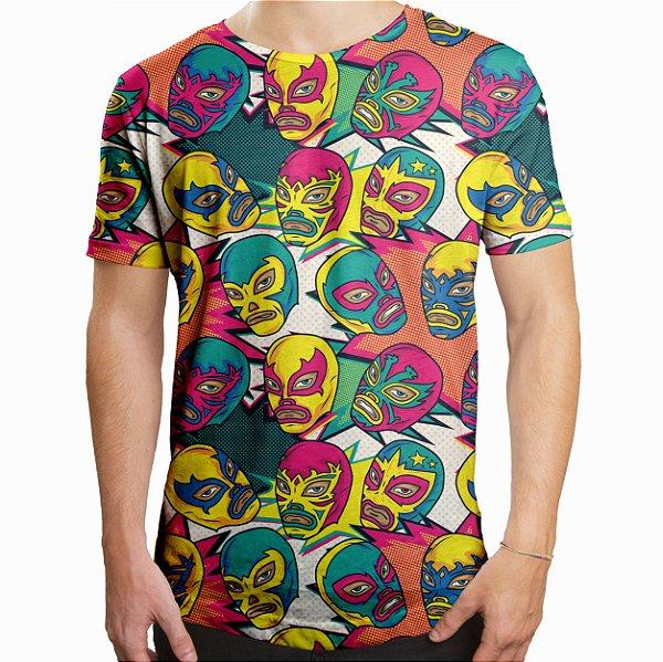 Camiseta Masculina Longline Swag Lucha Libre Westler Mexicano Estampa Digital