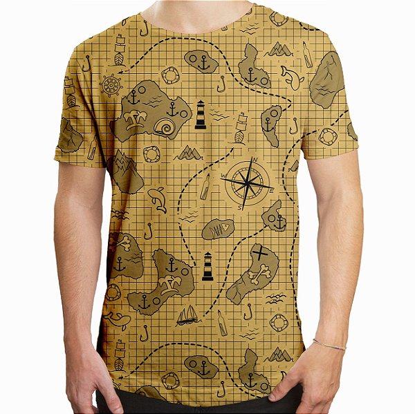 Camiseta Masculina Longline Swag Mapa do Tesouro Estampa Digital
