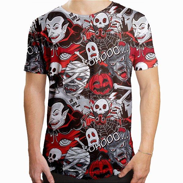 Camiseta Masculina Longline Swag Monstros do Horror Estampa Digital