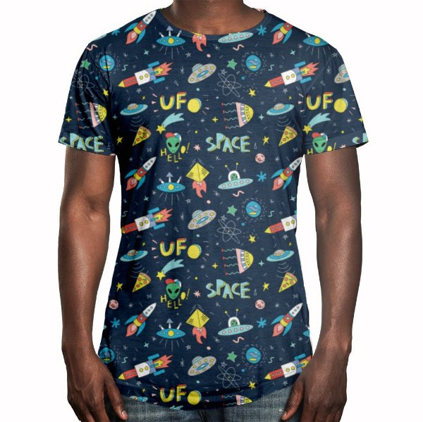 Camiseta Masculina Longline Swag Naves Espaciais Estampa Digital