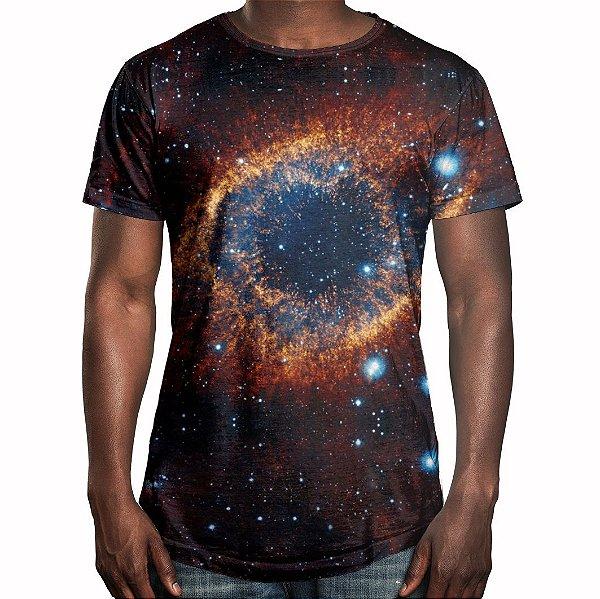 Camiseta Masculina Longline Swag Olho do Universo Estampa Digital