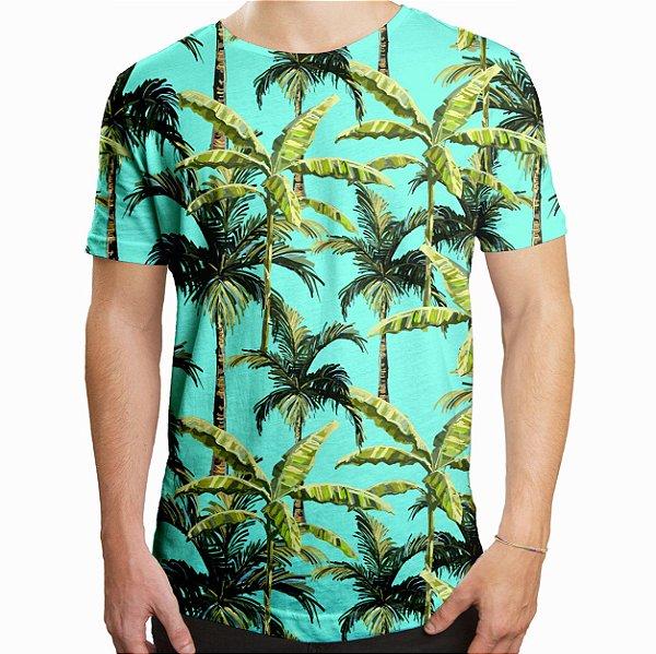 Camiseta Masculina Longline Swag Palmeiras Tropicais Estampa Digital