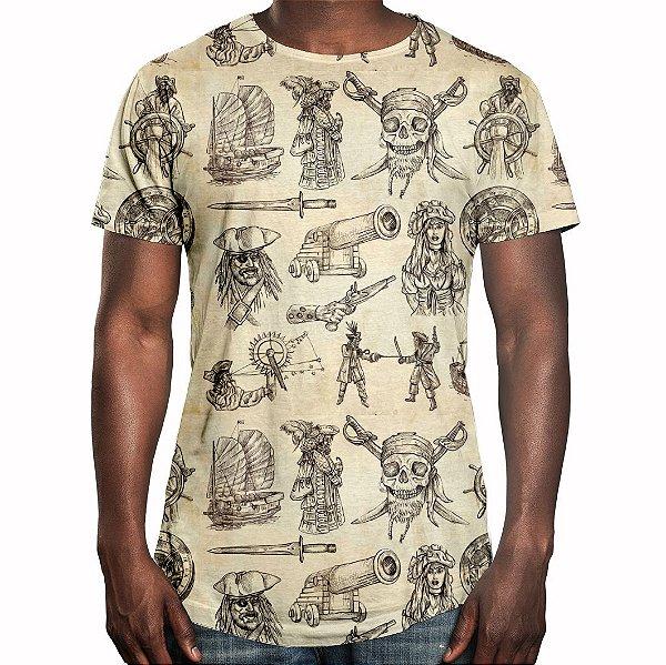 Camiseta Masculina Longline Swag Piratas Estampa Digital