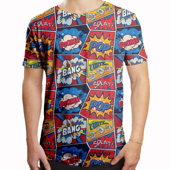 Camiseta Masculina Longline Swag Retro Pop Arte Estampa Digital