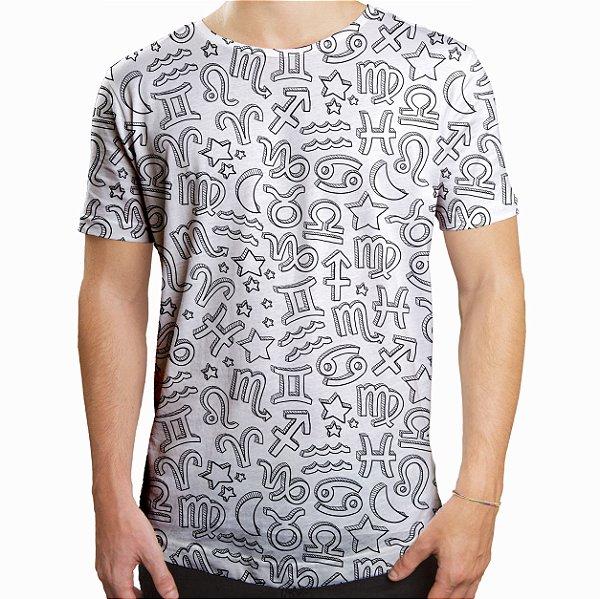 Camiseta Masculina Longline Swag Signos do Zodíaco Estampa Digital
