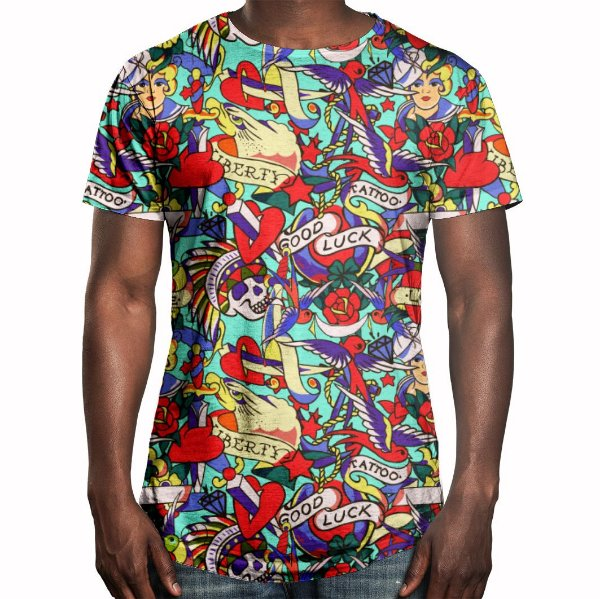 Camiseta Masculina Longline Swag Tatuagens Clássicas Estampa Digital