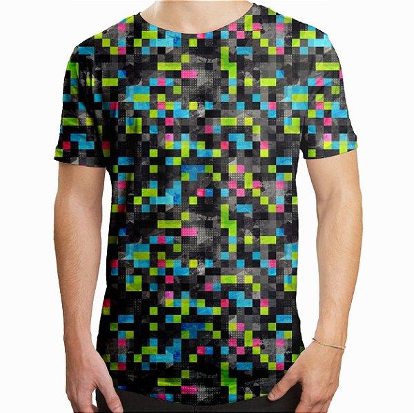 Camiseta Masculina Longline Swag Tecno Pixels Estampa Digital