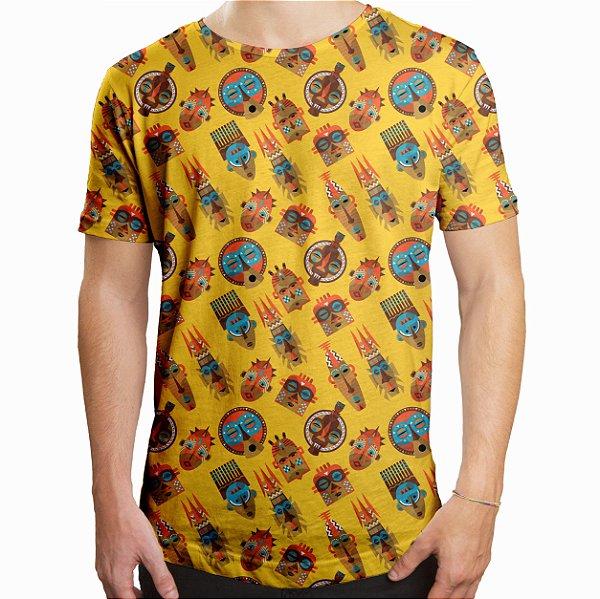 Camiseta Masculina Longline Swag Tribos Africanas Estampa Digital