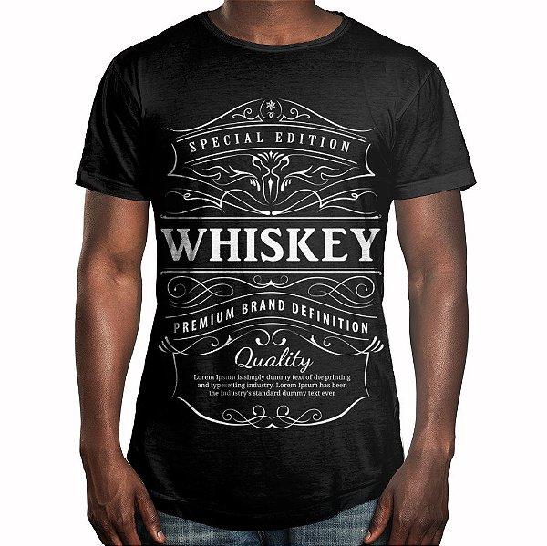 Camiseta Masculina Longline Swag Whiskey Uísque Estampa Digital