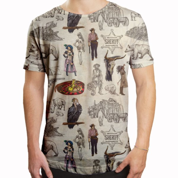 Camiseta Masculina Longline Swag Velho Oeste Estampa Digital