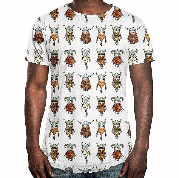 Camiseta Masculina Longline Swag Vikings Estampa Digital