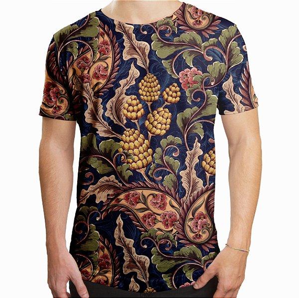 Camiseta Masculina Longline Swag Vintage Floral Estampa Digital