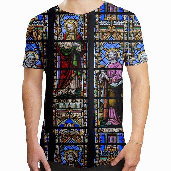 Camiseta Masculina Longline Swag Vitral Igreja Estampa Digital