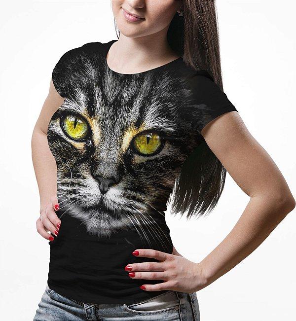 Camiseta Baby Look Feminina Big Face Gato Cinza Estampa Total md02