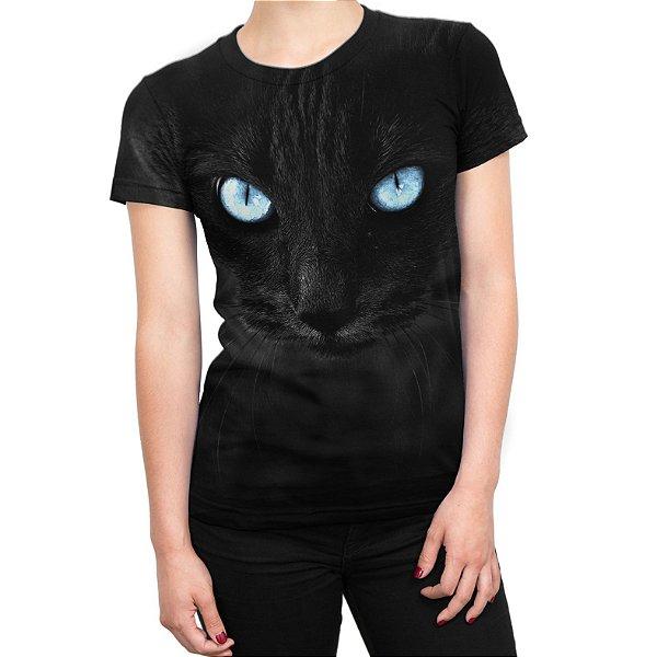 Camiseta Baby Look Feminina Big Face Gato Preto Estampa Total