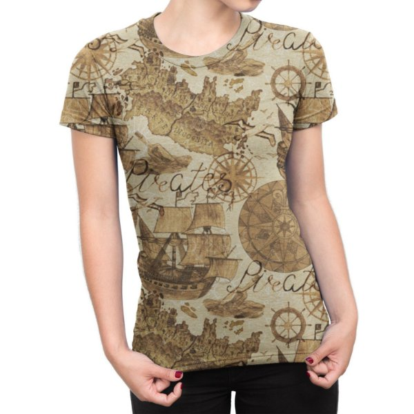 Camiseta Baby Look Feminina Carta Gegráfica Estampa Total