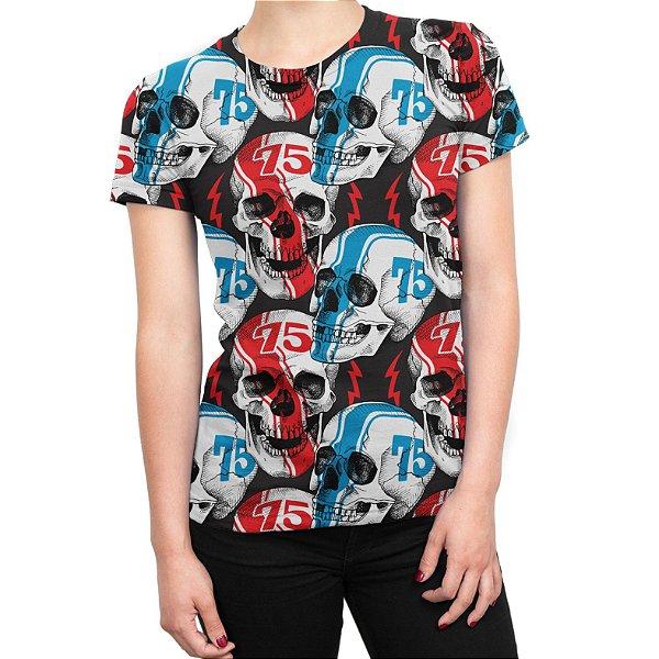 Camiseta Baby Look Feminina Caveiras Racer Estampa Total