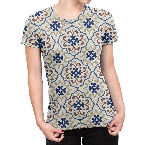 Camiseta Baby Look Feminina Estampa de Azulejos Estampa Total