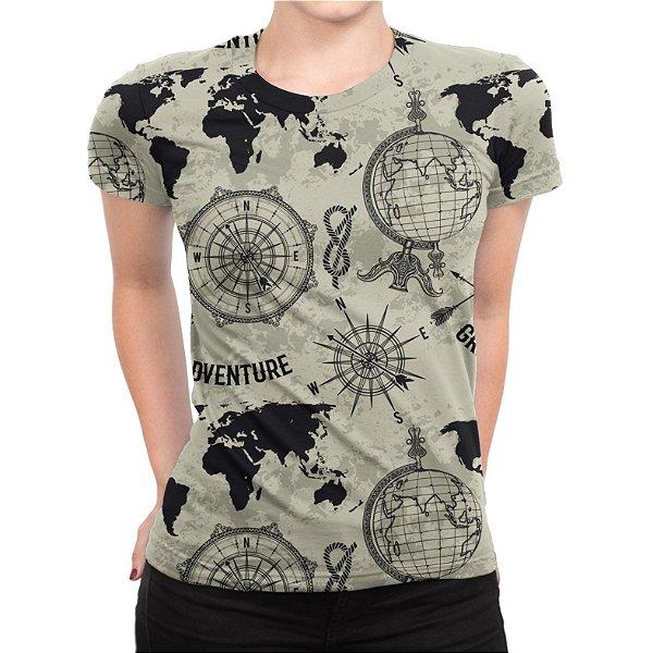 Camiseta Baby Look Feminina Expansão Marítima Estampa Total