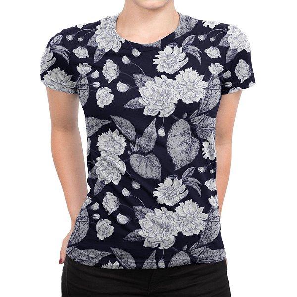 Camiseta Baby Look Feminina Flor de Ameixa Chinesa Estampa Total