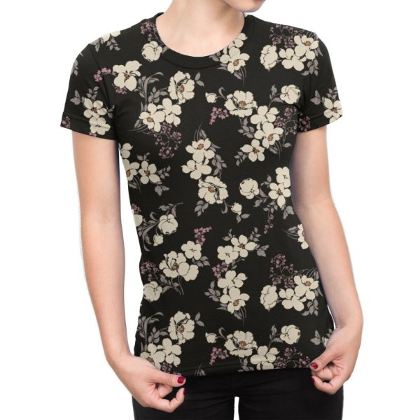 Camiseta Baby Look Feminina Flor de Cerejeira Estampa Total