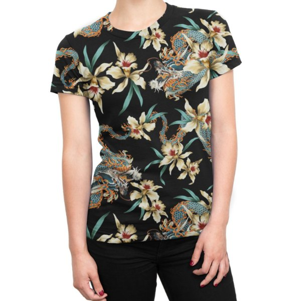 Camiseta Baby Look Feminina Flor e Dragão Chinês Estampa Total